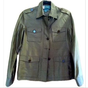 Ralph Lauren Silk Olive Green Military Jacket